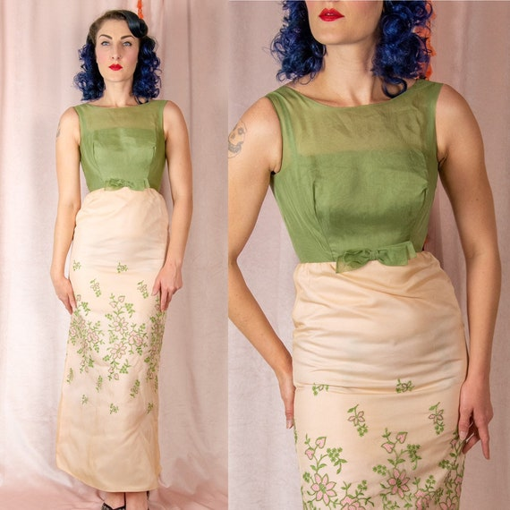 1960s XS Dress - Sheer Green and Pink Floral Dress