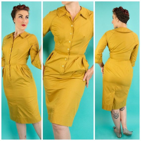 Vintage 1950s Mustard Pencil Dress Small with Pock