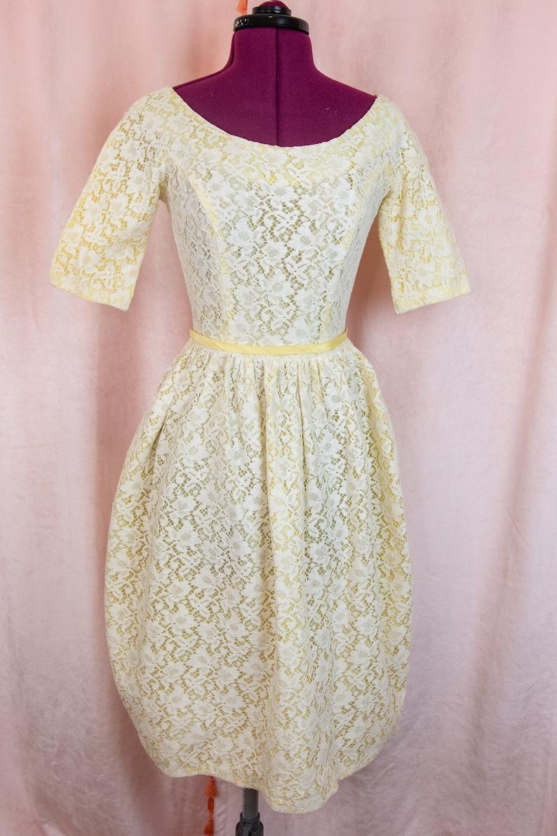Vintage 1950er Jahre gelb weiß Spitze Kleid XS Julius | Etsy