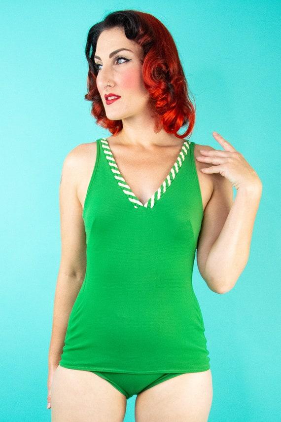 1960s Green Swimsuit - One Piece Swimsuit - Bathi… - image 2