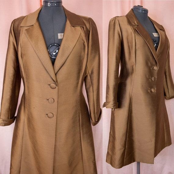 60s Brown Silk Coat - Large Womens Coat - 60s Brow