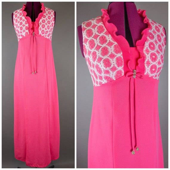 Vintage 1960s Hot Pink Maxi Dress Small Medium Hos