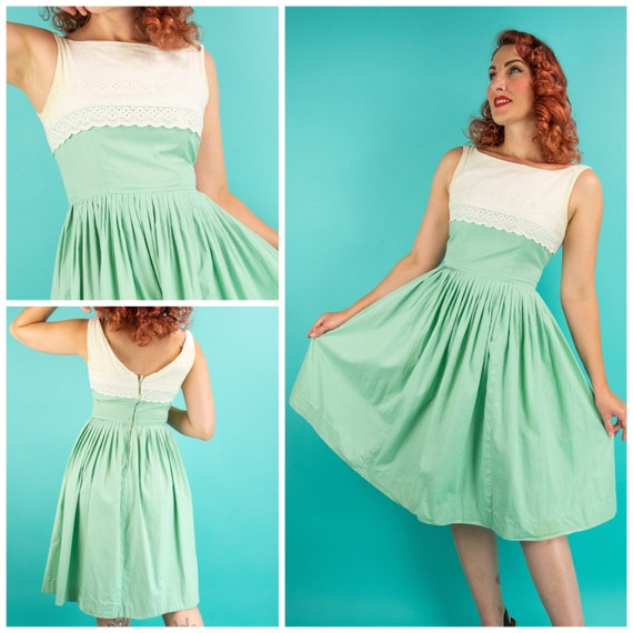 1950s Mint Green Dress - Small - White Lace Green