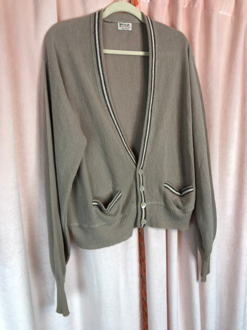 50s 60s Mens Sweater Large XL Mens Vintage Tan Sweater