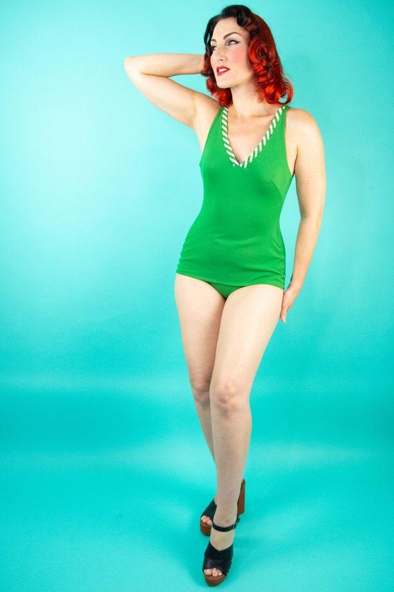 1960s Green Swimsuit - One Piece Swimsuit - Bathi… - image 1