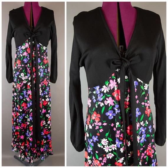 Vintage 1960s Dress -  Floral Maxi Dress - Large X
