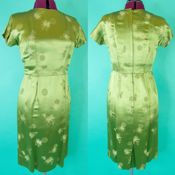 Vintage 1950s Green Asian Wiggle Dress - Green Sat