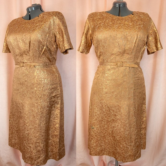 1950s Gold Dress Large XL - Cocktail Dress - Gold