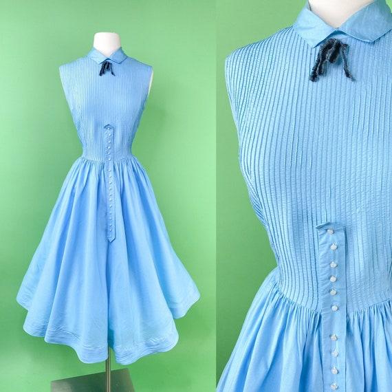 Vintage 1950s Blue Dress Medium