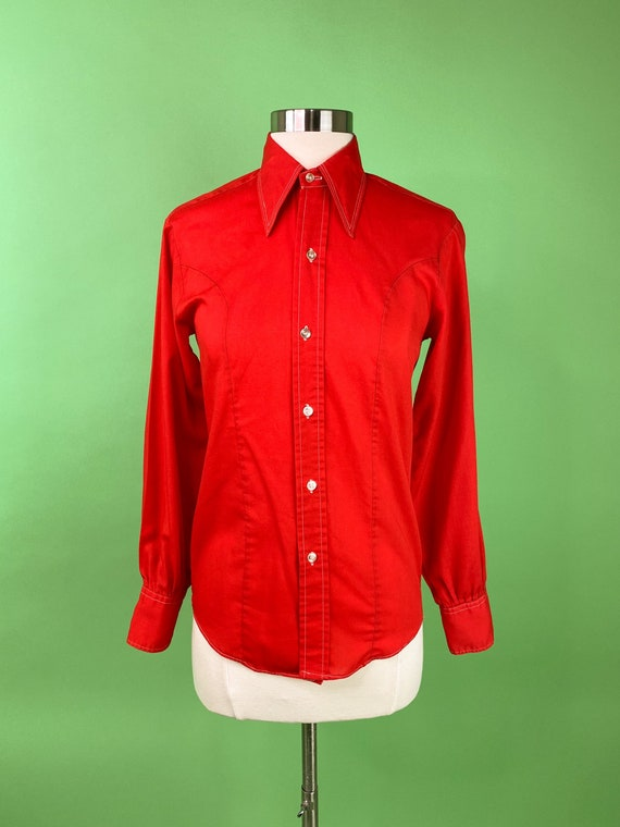 1970s Ladies Red Western Top XS Small
