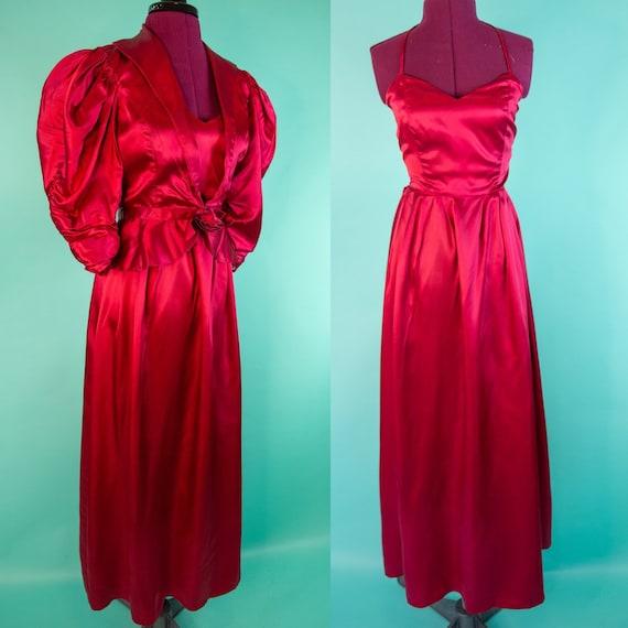 Vintage 1970s Red Halter Top Evening Gown Set - JC