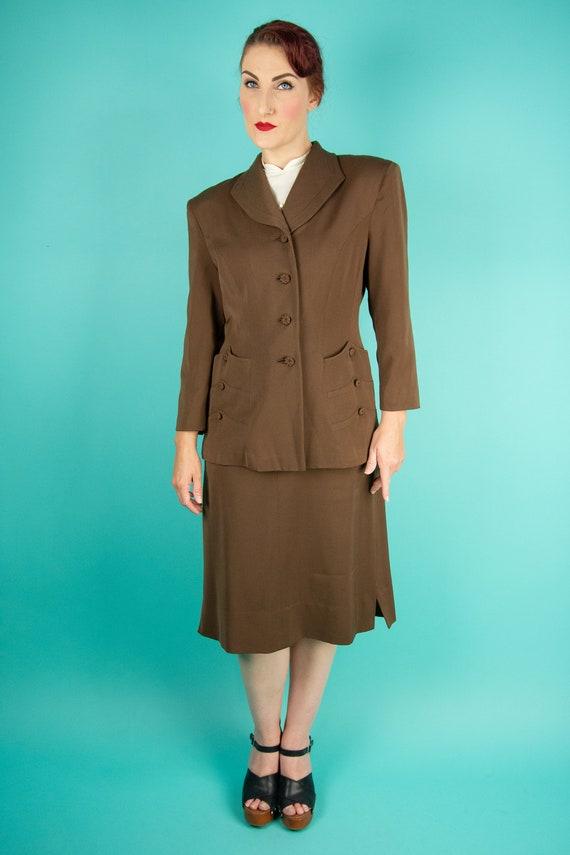1940s Brown Skirt Suit - Dress Suit - Wool Gabard… - image 2