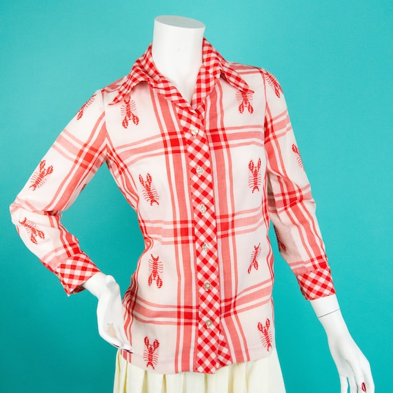 1960s Lobster Blouse - Vintage Button Up - Serbin