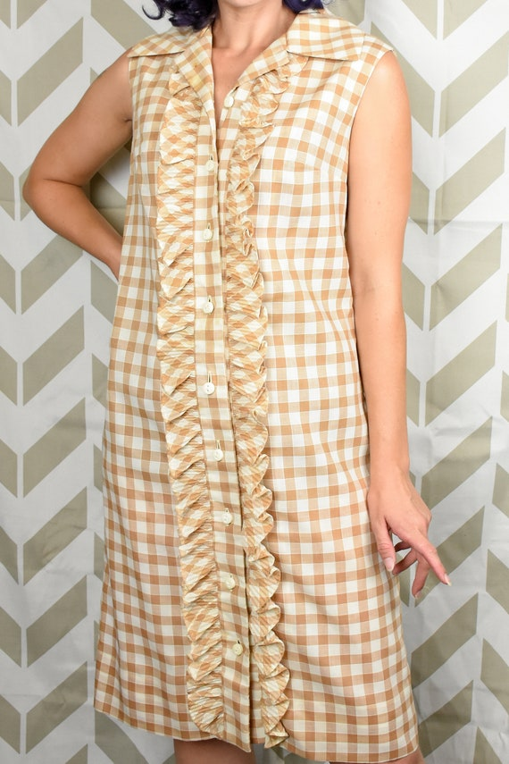 1960s Gingham Dress - True Vintage - Tan Gingham D