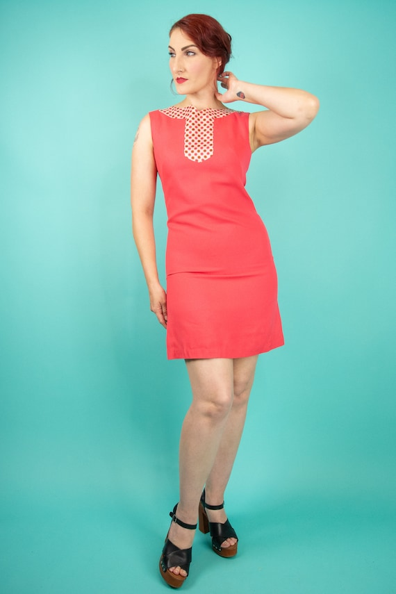 1960s Coral Pink Mini Dress Small - 60s Go Go Dre… - image 4