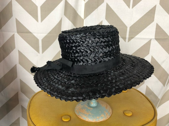 1940s 1950s Black Straw Hat Boater Hat Sun Hat Funeral  75a5bbd077fc