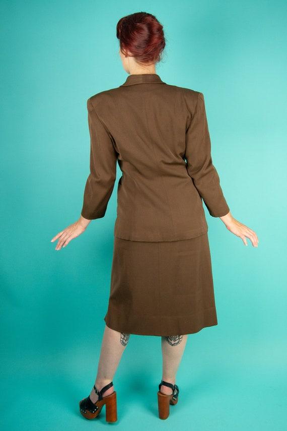 1940s Brown Skirt Suit - Dress Suit - Wool Gabard… - image 3