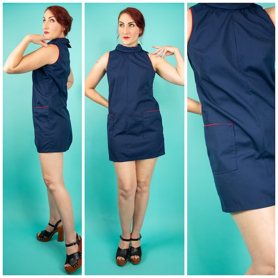 1960s Small Mod Dress with Pockets - Navy Blue Mod