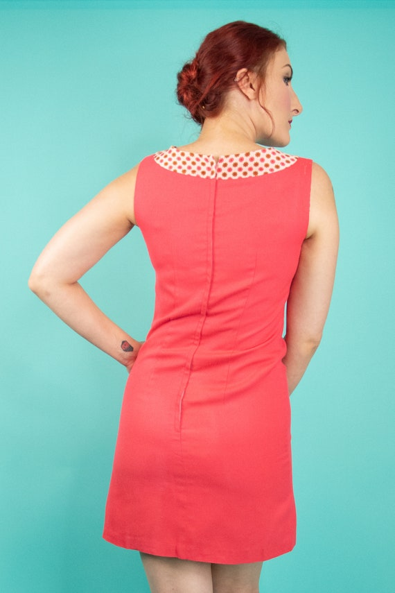1960s Coral Pink Mini Dress Small - 60s Go Go Dre… - image 8