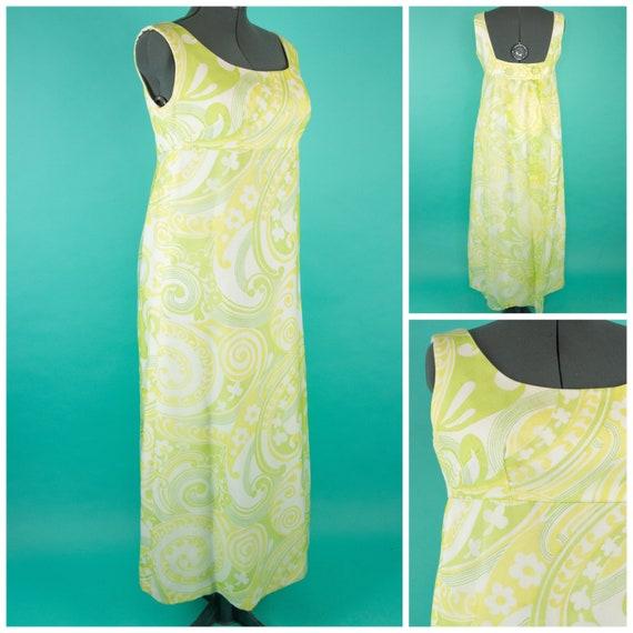 1960s XL Chiffon Maxi Dress - Green Flower Dress -