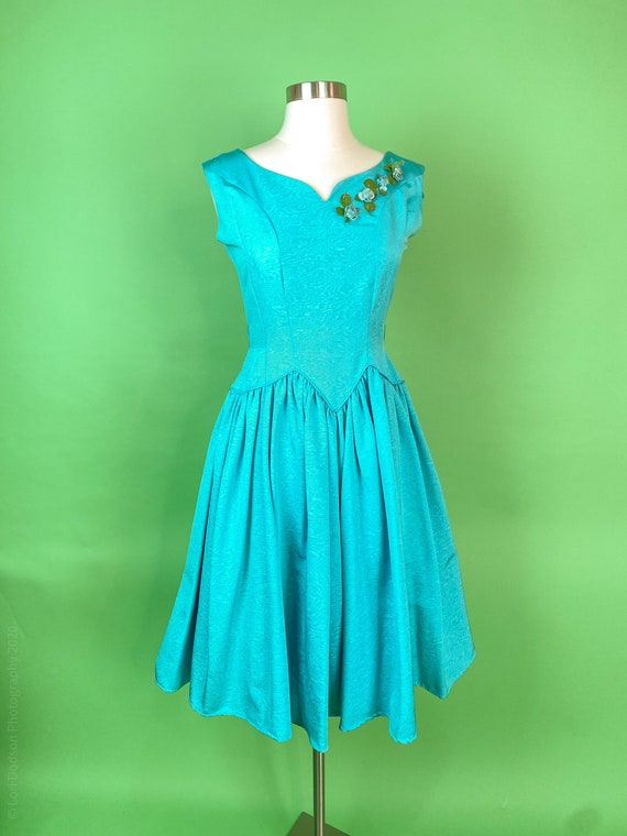 Vintage 1950s XS Turquoise Dress