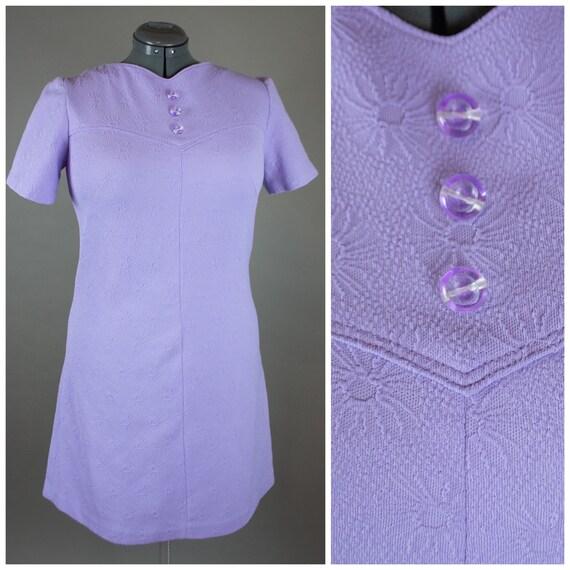 Vintage 1960s Lavender Dress Large - Gogo Dress -