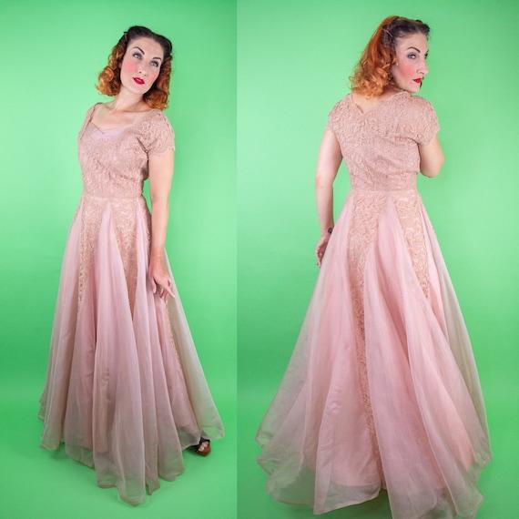 Vintage 1940s 50s Dusty Pink Lace Dress - DuBarry