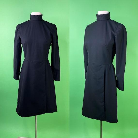 Vintage 1960s Black Mod Dress XS Small