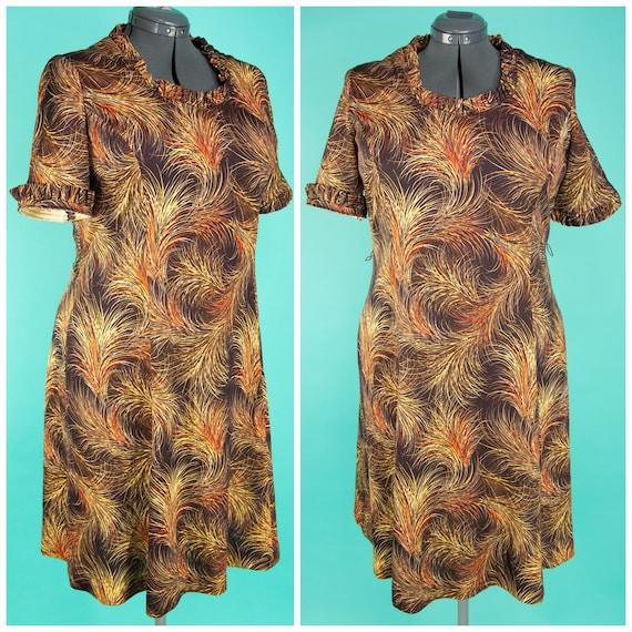 1970s XL Dress - 70s Day Dress - Brown Plume Print
