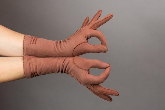 1930s Gloves - Clay Brown Gloves - Suede Gloves -