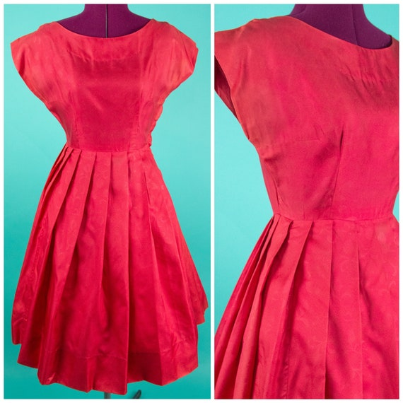Vintage 1950s Red Floral Dress Small - Coral Red D