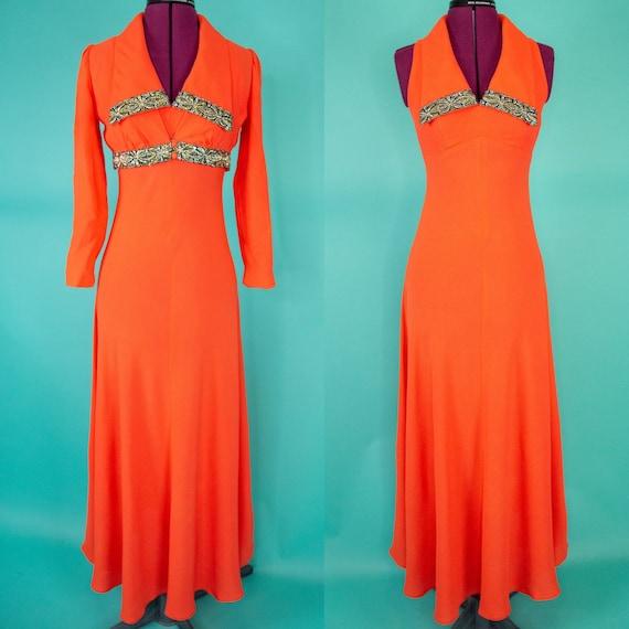 1970s Dress - Coral Orange Dress Set Small - 70s G