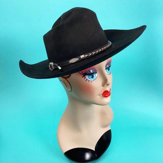 Vintage 1980s Black Cowboy Hat Size 7 - Western Ha
