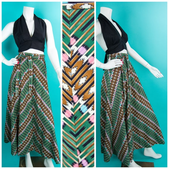 1960s 70s Skirt - Southwestern Skirt - Small - Gre