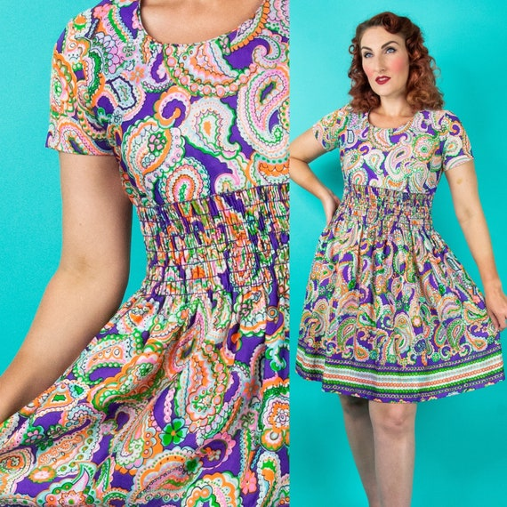 1960s Paisley Dress - Paisley Print Mod Dress - P… - image 1