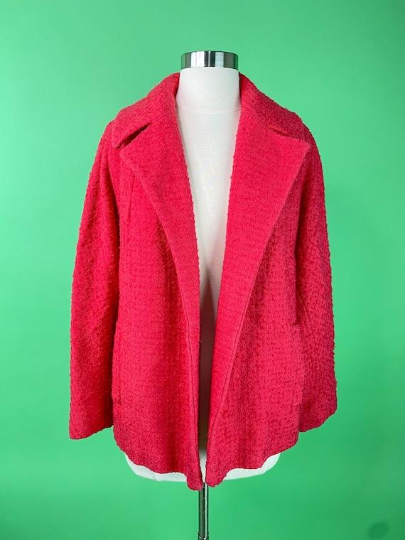 Vintage 1950s 60s Hot Pink Coat Medium Fuchsia Woo