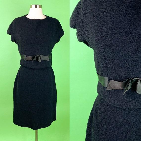 Vintage 1960s Small Black Skirt Set