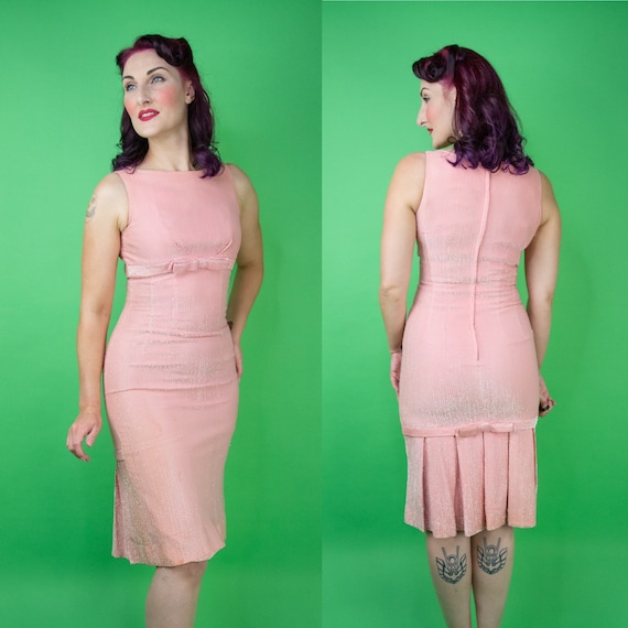 Vintage 1950s 60s Pink Lurex Wiggle Dress Small
