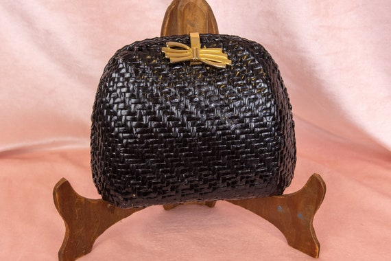 60s Box Purse - Black Wicker Bag - Willow Wicker H