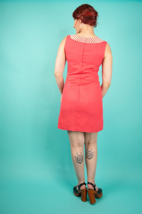 1960s Coral Pink Mini Dress Small - 60s Go Go Dre… - image 7