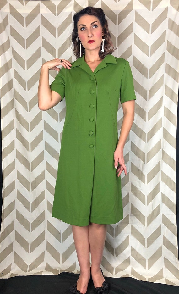 1960s Green Dress Large - Day Dress