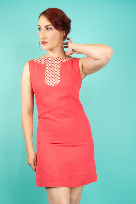 1960s Coral Pink Mini Dress Small - 60s Go Go Dre… - image 3