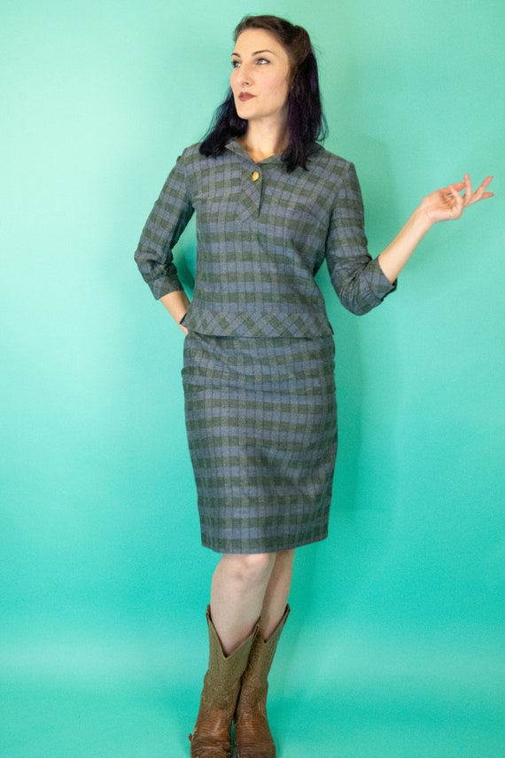Vintage 1960s Plaid Skirt Set Small - Blue and Gre