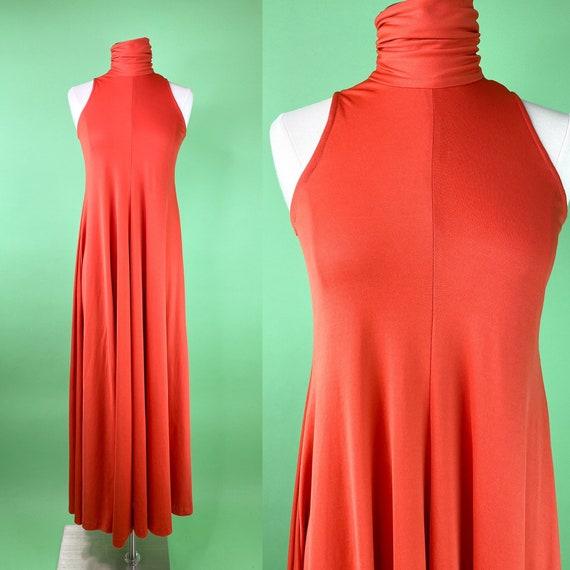 Vintage 1970s Orange Tent Dress Trapeze Dress - Sm