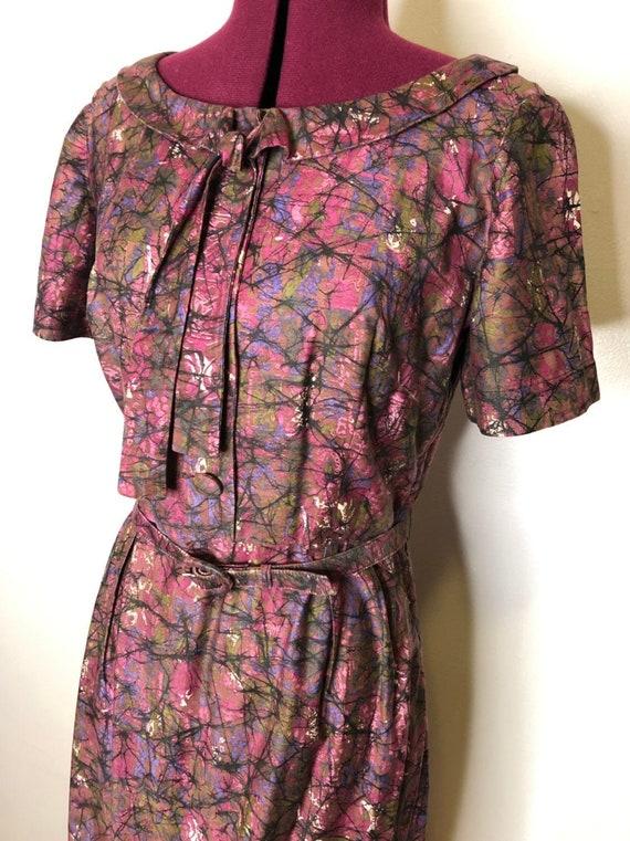 Vintage 1950s Purple Novelty Print Dress - Day Dre