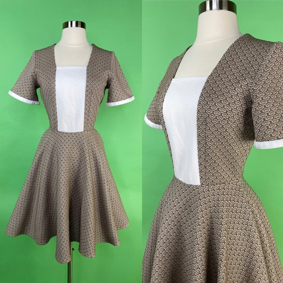 Vintage 1960s Dress XS Small Brown White Textured