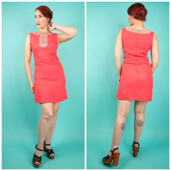 1960s Coral Pink Mini Dress Small - 60s Go Go Dre… - image 1