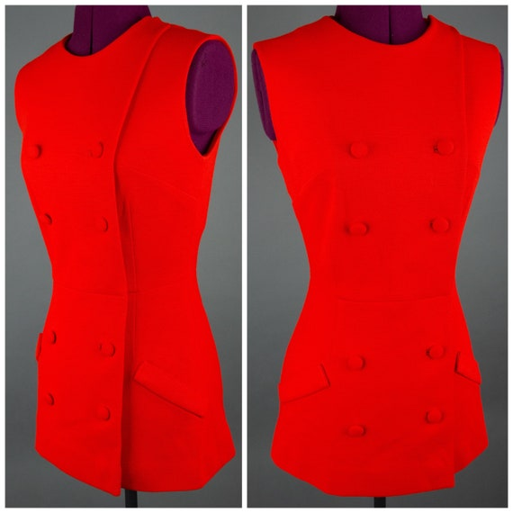 1960s Red Mod Top - 60s Sleeveless Top - Bright Re