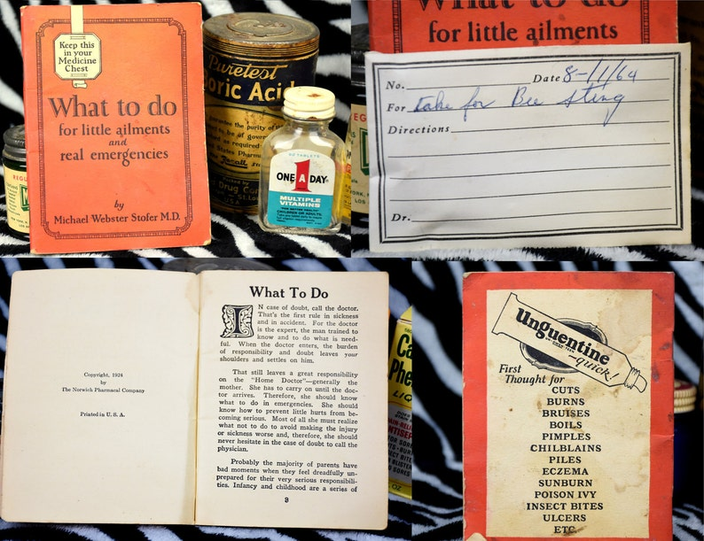 Antique Apothecary 1920s | Ailment book/Boric Acid/Medicine Droppers |  Vintage Vicks Vapor Rub | Home Decor | Oddities | Medicine Jar