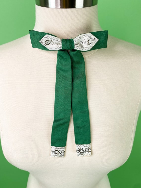 Vintage 1940s 50s Green Western Bow Tie
